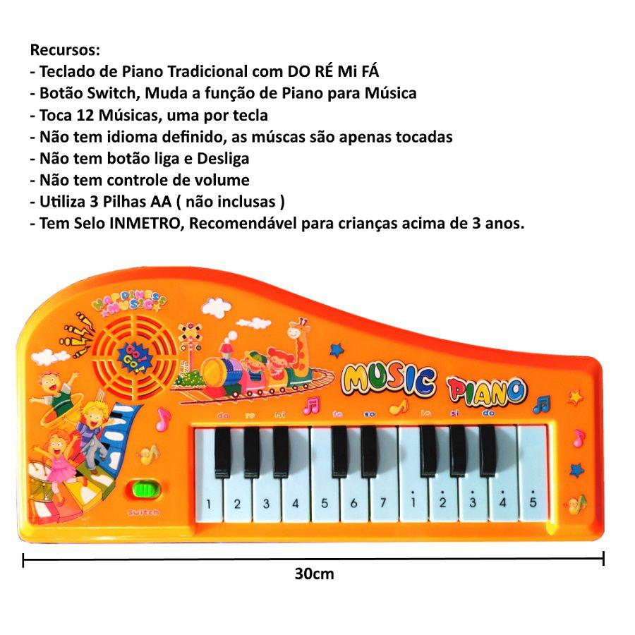 Teclado Musical Infantil Piano Do Ré Mi Fa Educativo com Músicas Laranja