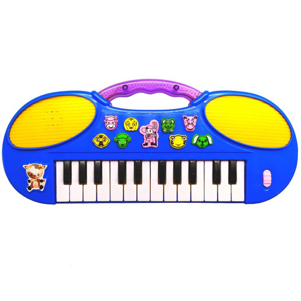 Teclado Musical Zoo Bichos Músicas e Melodias Pianinho com Luz Alça para Segurar Azul PI3070