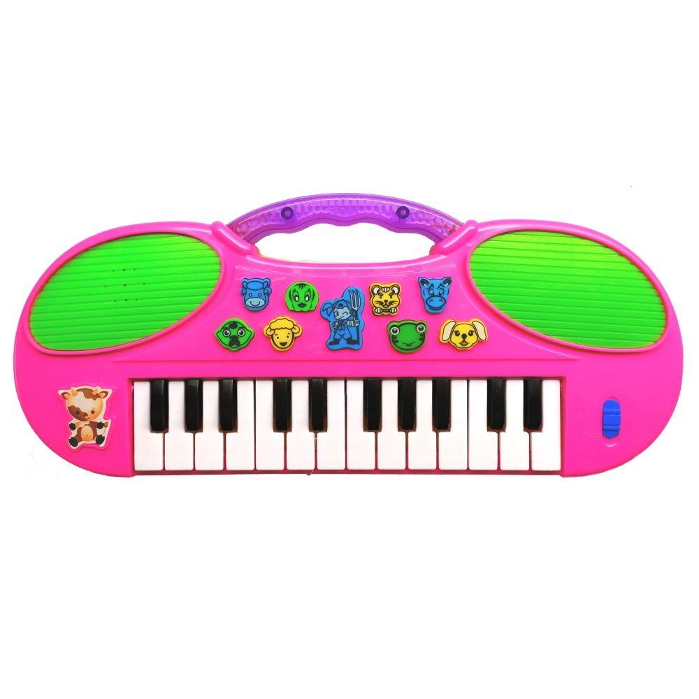 Teclado Musical Zoo Bichos Músicas e Melodias Pianinho com Luz Alça para Segurar Rosa PI307011