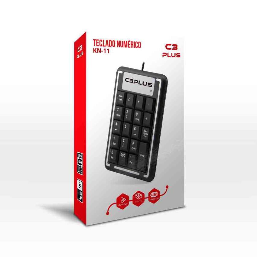 Teclado Numérico USB Plug and Play com 19 teclas Premium C3 Plus