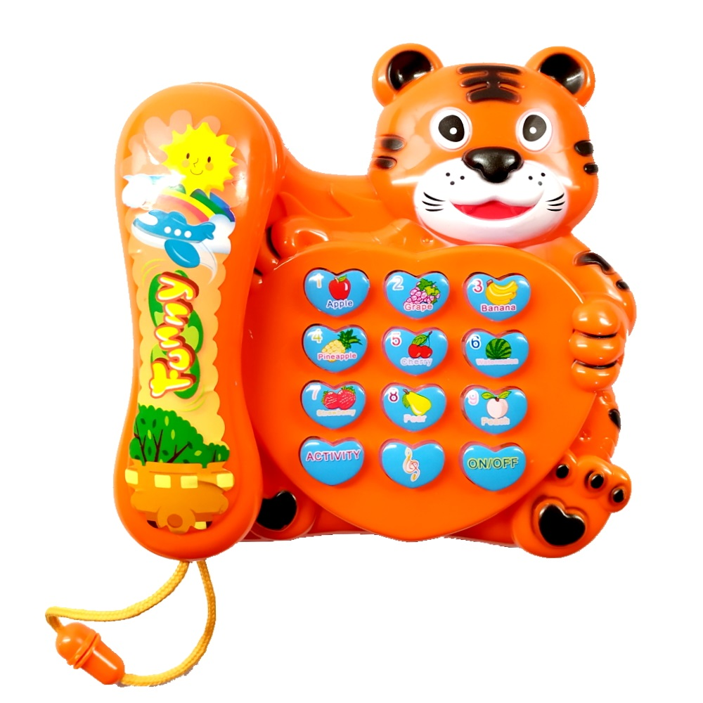 Telefone Musical de Tigre Bebê Brinquedo Piano Infantil