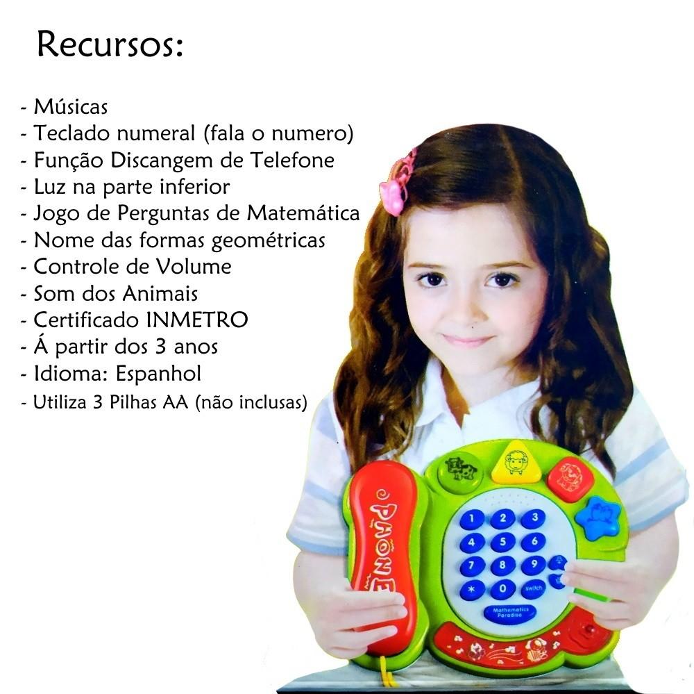 Telefone Musical Infantil com Sons Luzes Bichos e Formas Geométricas Azul