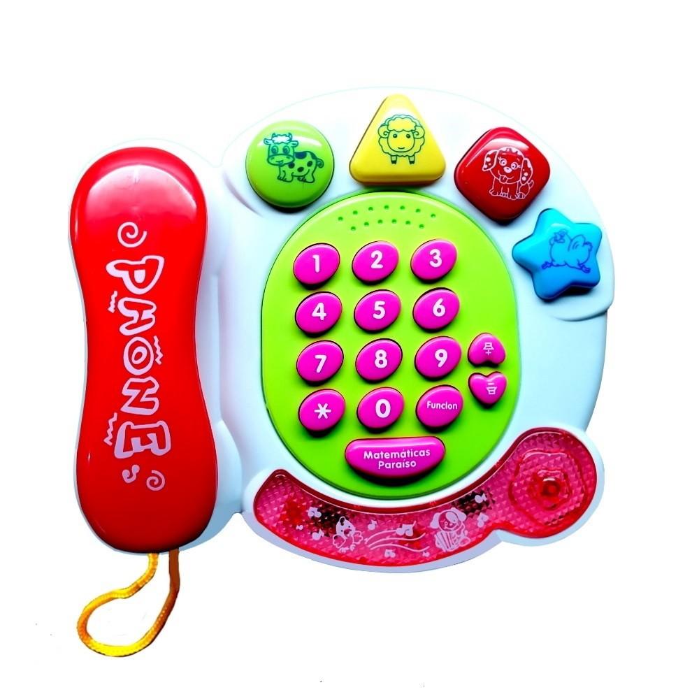 Telefone Musical Infantil com Sons Luzes Bichos e Formas Geométricas Rosa