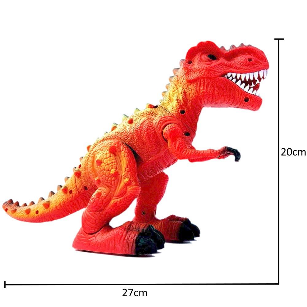 Tiranossauro Rex Do Valley Anda com Som Projeção Luz e Bota Ovo Vermelho