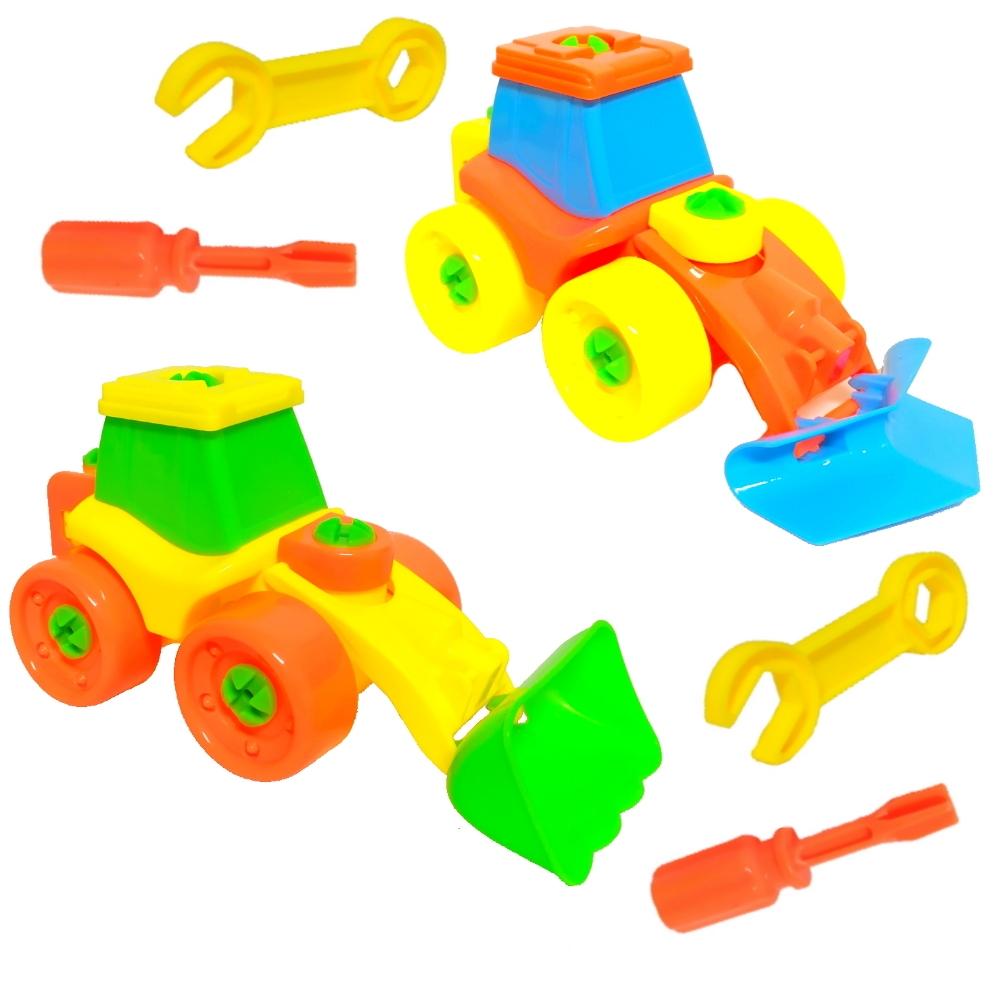 Trator Monta Desmonta com Chave Brinquedo Infantil - Kit c/2