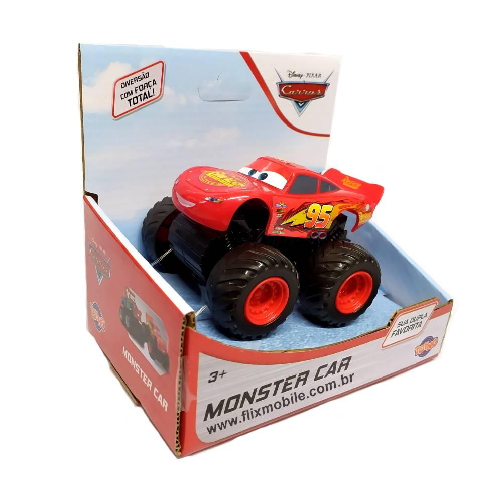 Veículos Carros Monster Kit com Fricção com Relâmpago Macqueen e Mate Disney