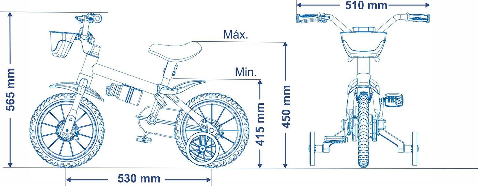Bicicleta Infantil Menino Aro 12 Black - Nathor