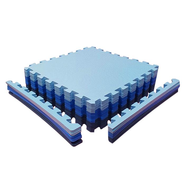 Kit 12 Unidades Tatame EVA 50x50x2cm 20mm Tons de Azul