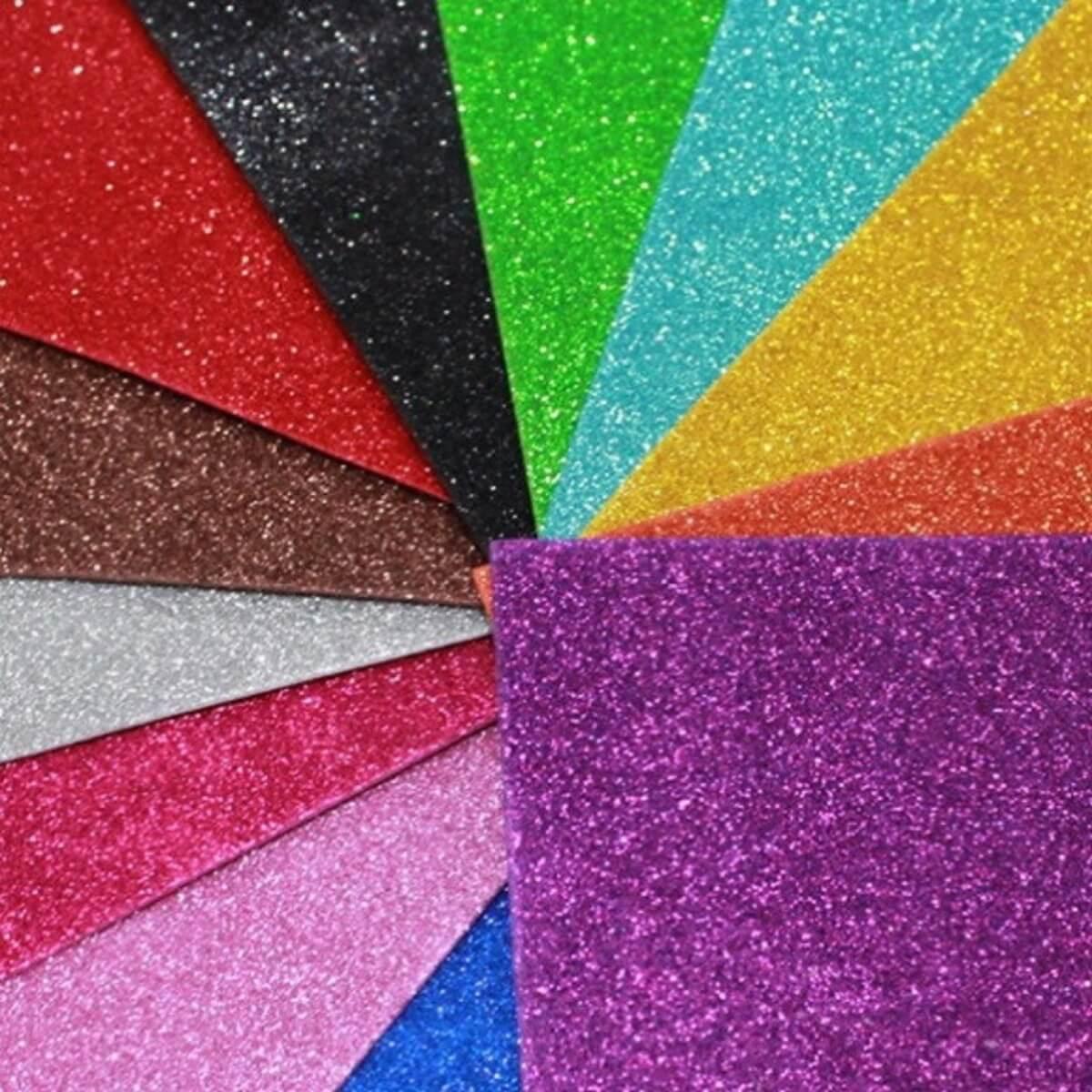 Kit 5 Cartolinas Folhas de EVA com Glitter 50x40