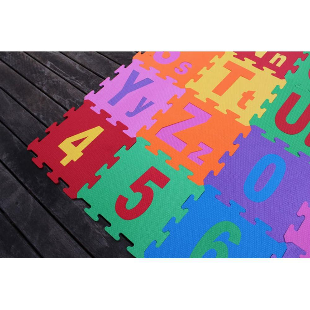 Tapete Eva Alfabeto Numeral Educativo Infantil 26 Peças Letras Maiúsculas e Minúsculas