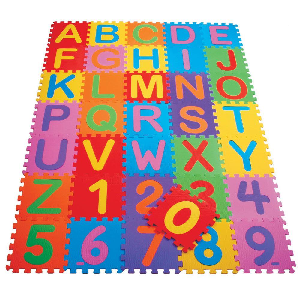 Tapete Tatame Alfabeto Colorido 36 peças (26 alfabeto 10 numérico) 29x29 Mingone