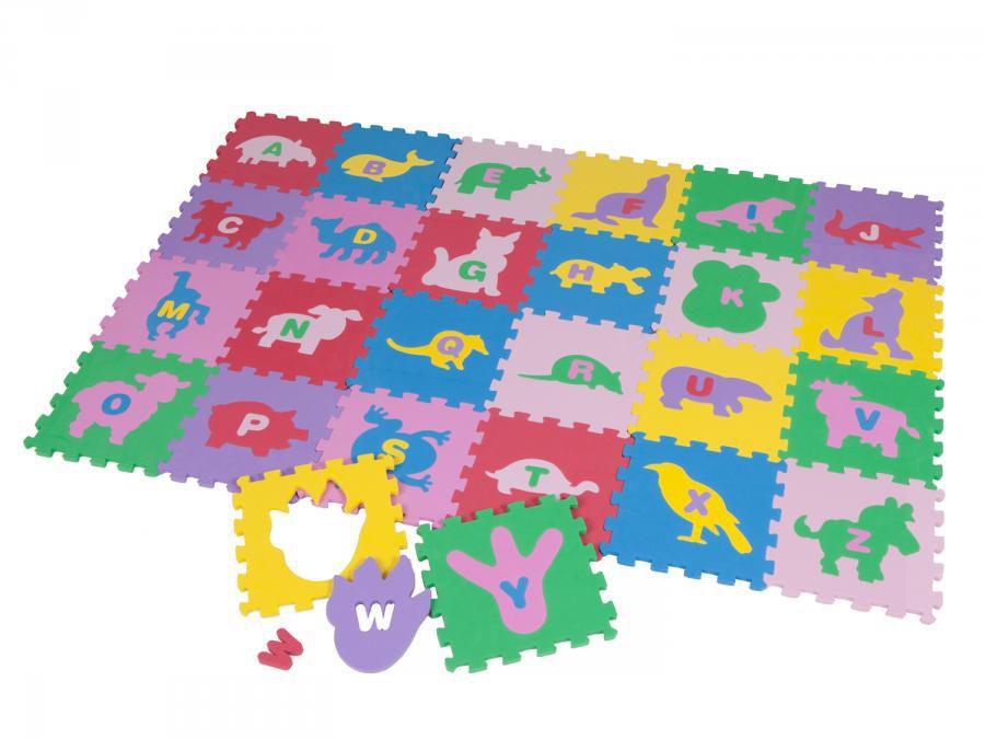 Tapete Tatame de Atividades Bichinhos e Letras 26 peças 15x15x0,8mm