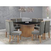 Conjunto Sala de Jantar Mesa com Tampo de Vidro Atena e 8 Cadeiras Styllo Sonetto Móveis