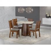 Conjunto Sala de Jantar Mesa Quadrada Tampo de Vidro Luci 4 Cadeiras Spazzio - Sonetto