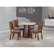 Conjunto Sala de Jantar Mesa Quadrada Tampo de Vidro Luci 4 Cadeiras Spazzio Sonetto Móveis Rústico