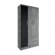 Guarda-Roupa Solteiro Hin 3 Portas CP327 Grafite/Preto - Evidência Móveis