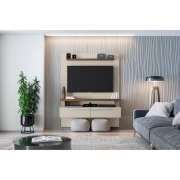 Painel Home para TV até 60 Polegadas 2 Portas New Caju Off-White/Nogueira - Línea Brasil