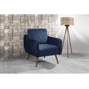 Poltrona Decorativa Para Sala de Estar Pés Palito Lary Veludo Azul
