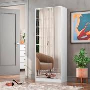 Sapateira com Espelho 2 Portas 1 Gaveta Grife Branca - Demóbile