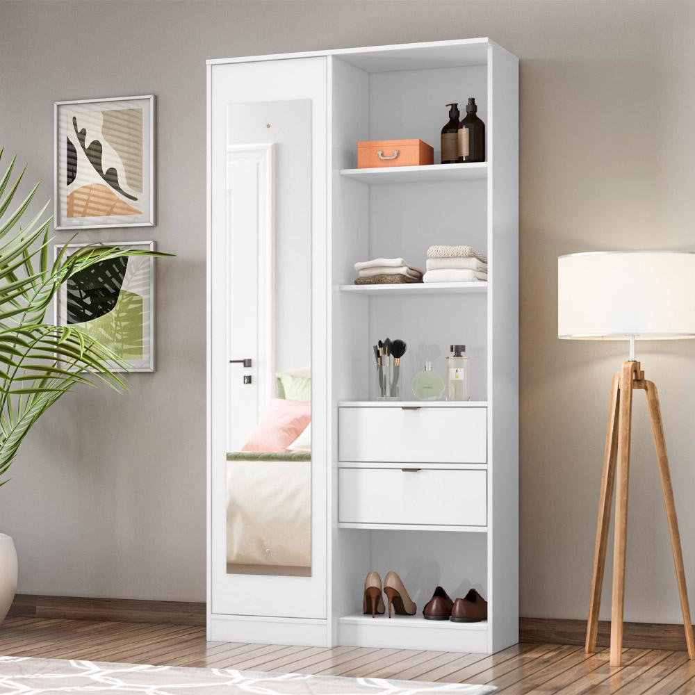 Armário Multiuso com Espelho 1 Porta 2 Gavetas Poesia Branco - Demóbile