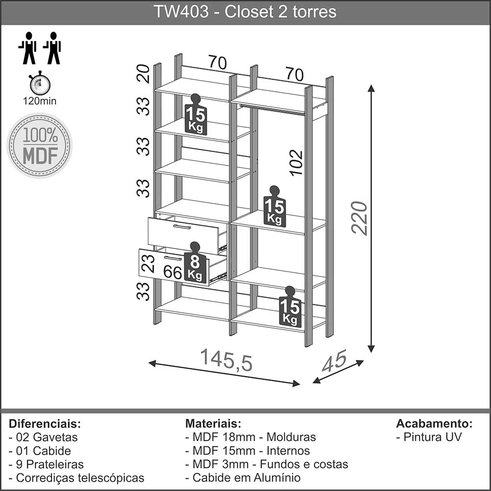 Closet 2 Gavetas 9 Prateleiras TW403 Off-White Brilho/Freijó Fosco - Dalla Costa