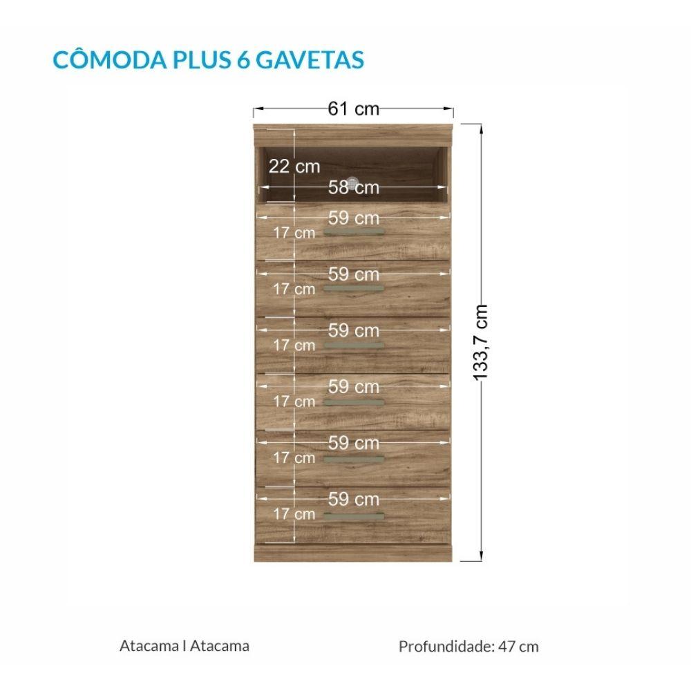 Cômoda 6 Gavetas Com Nicho Havana Plus Atacama - Santos Andirá