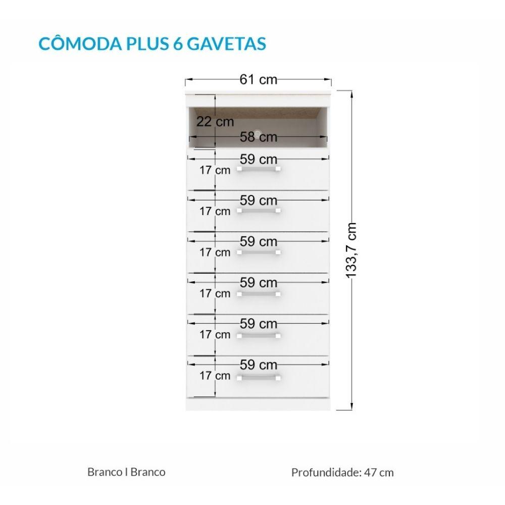 Cômoda 6 Gavetas Com Nicho Havana Plus Branco - Santos Andirá
