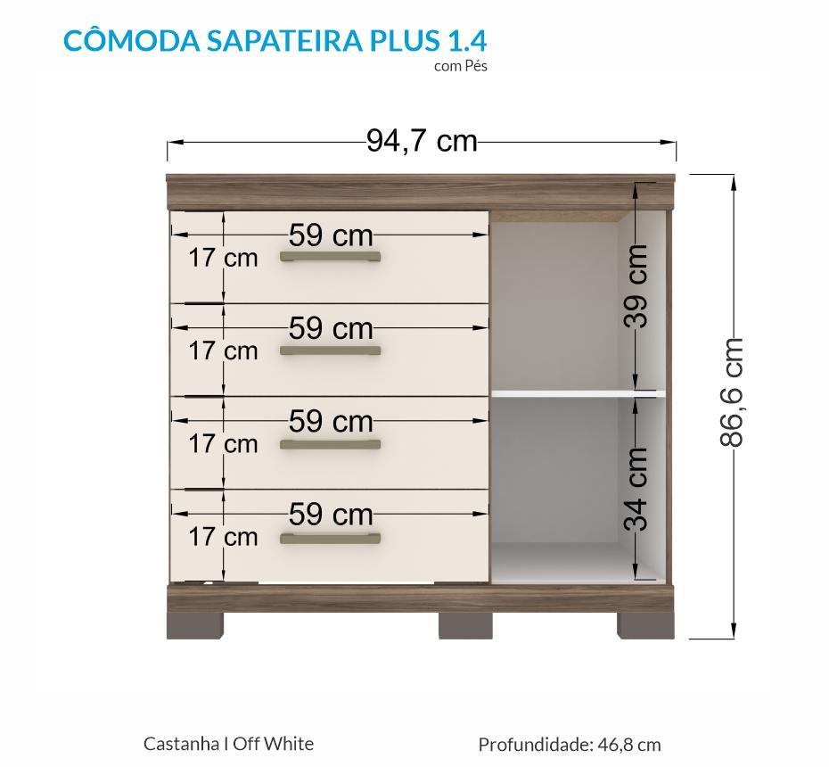 Cômoda Sapateira Havana Plus 1 Porta e 4 Gavetas Castanho/Off White - Santos Andirá