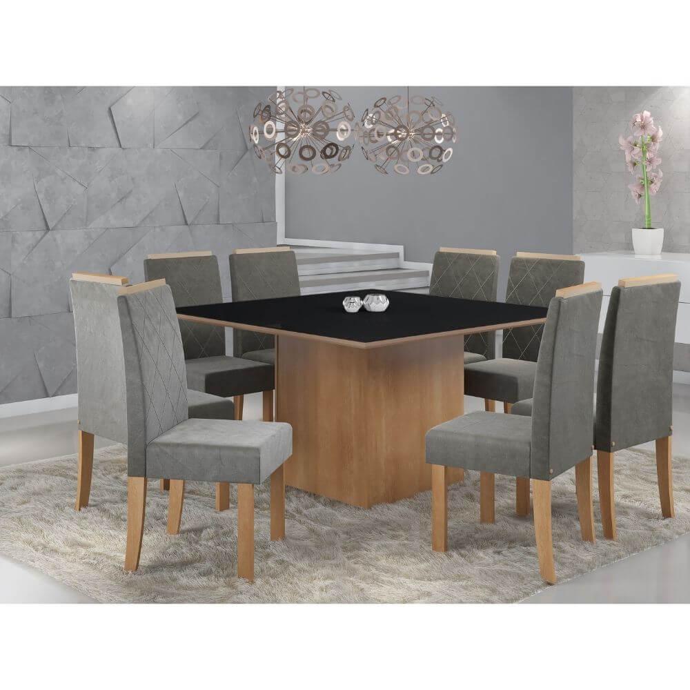 Conjunto Sala de Jantar Mesa com Tampo de Vidro Atena e 8 Cadeiras Styllo - Sonetto