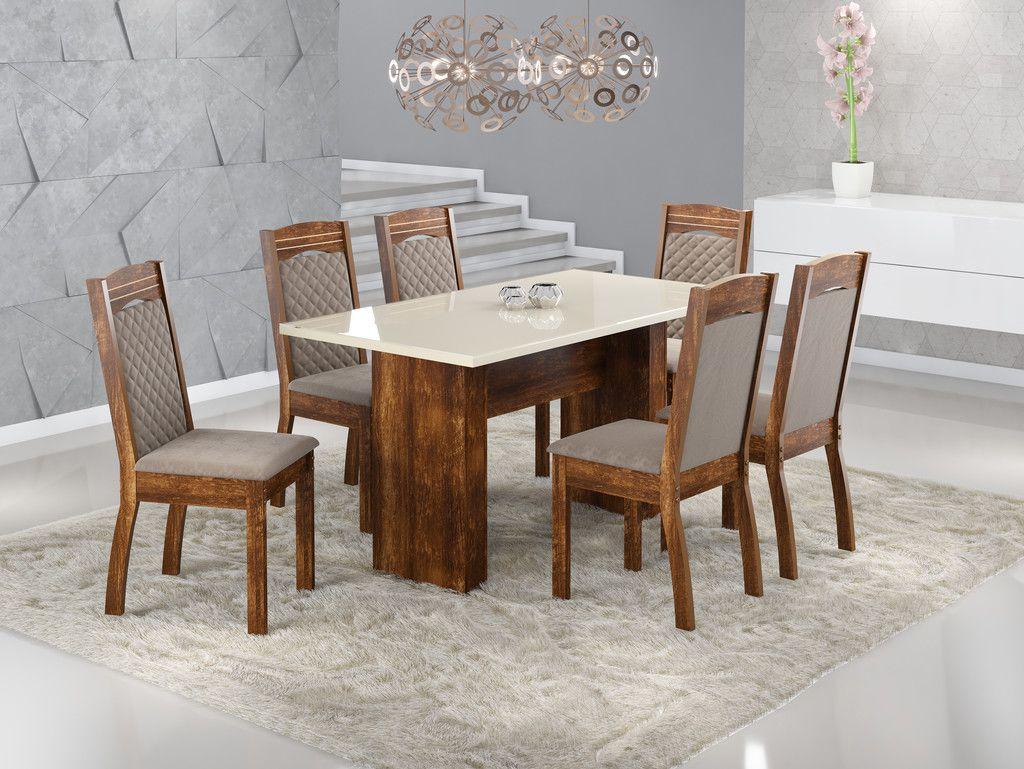 Conjunto Sala de Jantar Mesa com Tampo de Vidro Urca e 6 Cadeiras Alice Sonetto Móveis