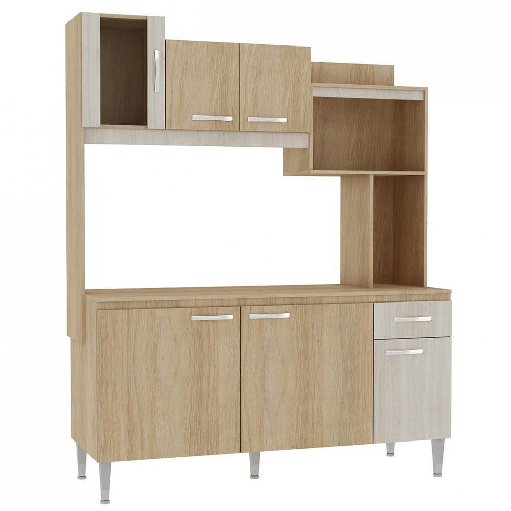 Cozinha Compacta Angel s/ Tampo 6 Portas 1 Gaveta Carvalho/Blanche - Fellicci Móveis