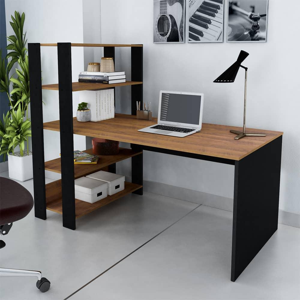 Escrivaninha Com Estante 4 Prateleiras Office Match Pinho/Preto - Artely