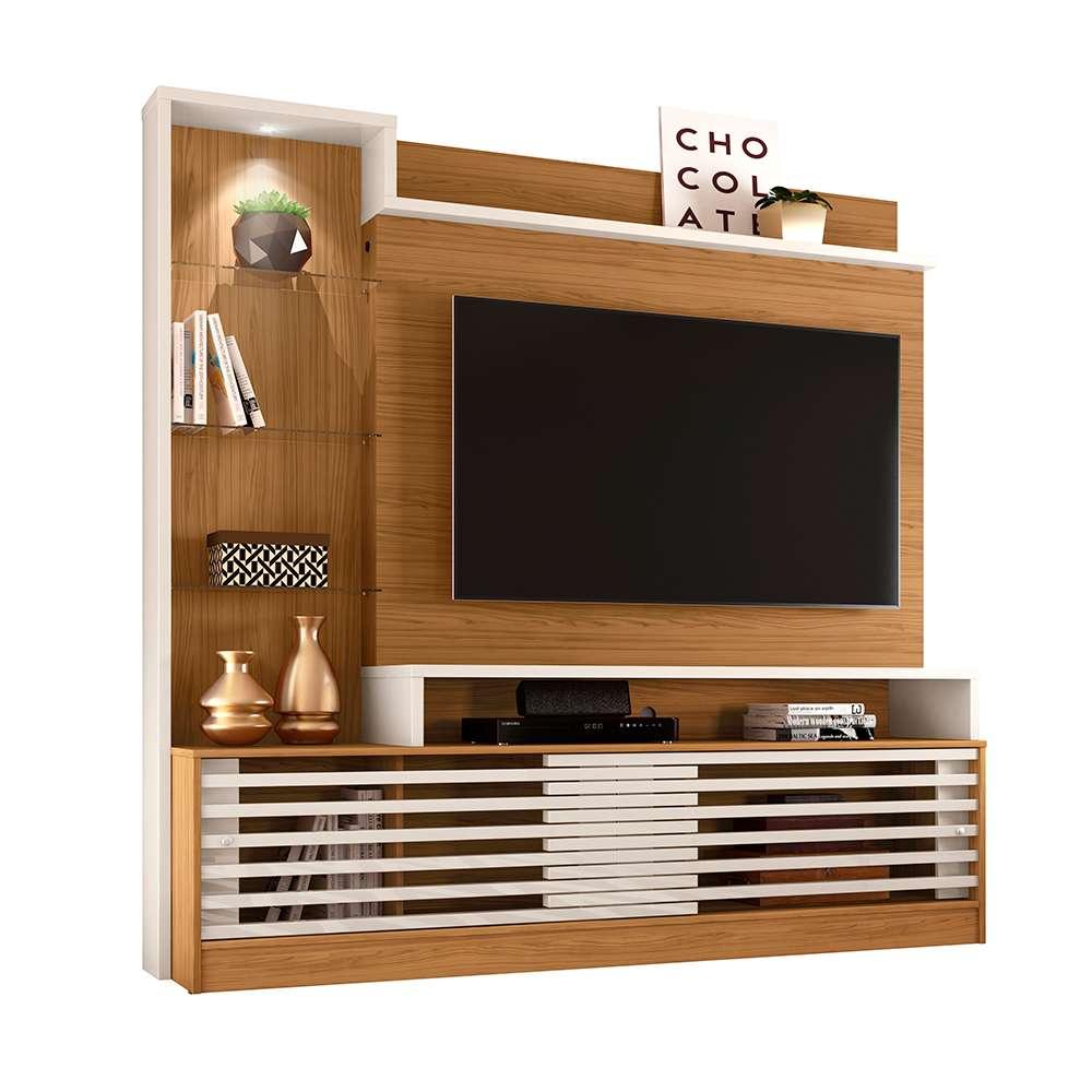 Estante Home para TV Até 55 Polegadas 2 Portas e LED Frizz Prime Naturale/Off-White - Madetec