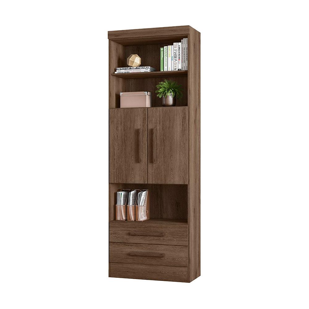 Estante para Livros com 2 Portas 2 Gavetas - Qmovi