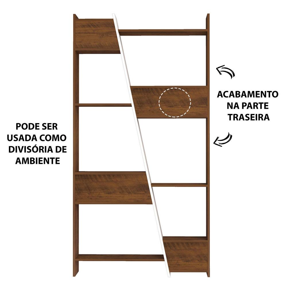 Estante Para Livros Multiuso com 10 Nichos Zap Pinho/Off-White - Artely