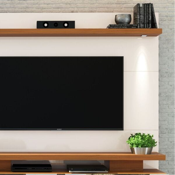 Estante para TV até 70 Polegadas com Espelho e LED Citta Dj Móveis Off White/Carvalho Americano