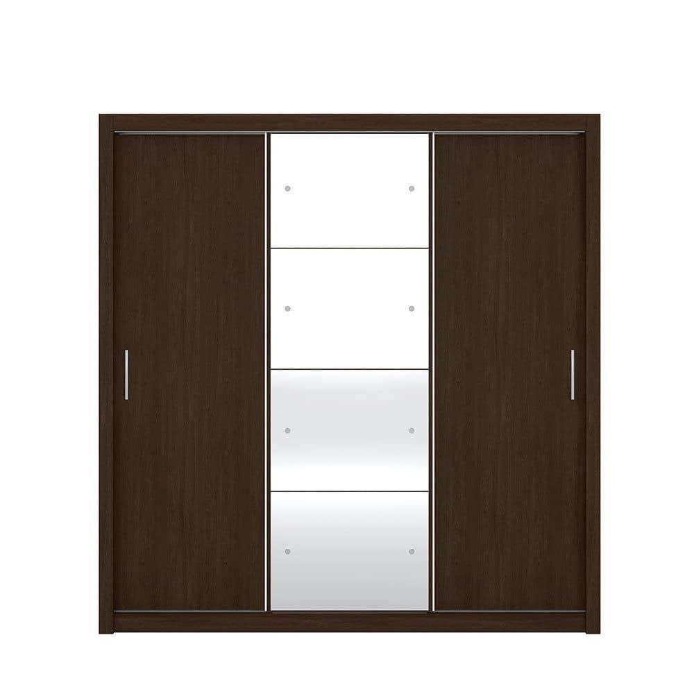 Guarda-Roupa Casal com Espelho 3 Portas Residence II Ébano Touch - Demóbile