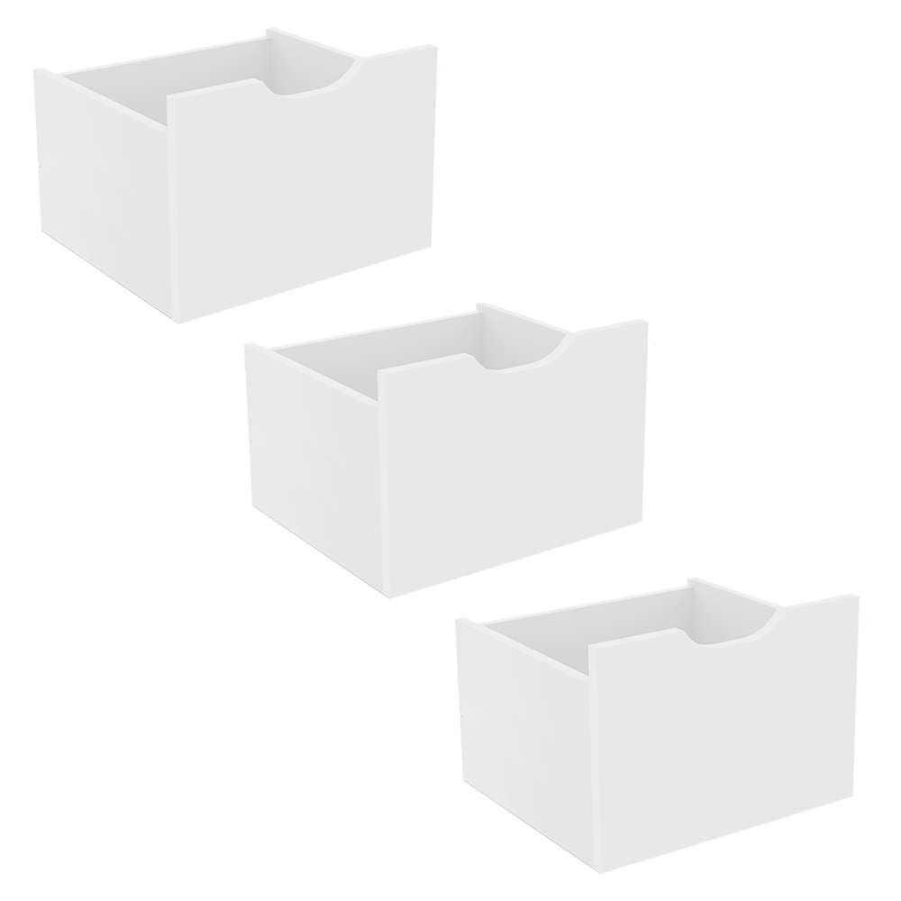 Kit 3 Gavetas Organizadoras Branco - Qmovi