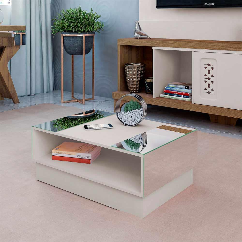 Mesa de Centro com Espelho Detroit Off-White - Artely