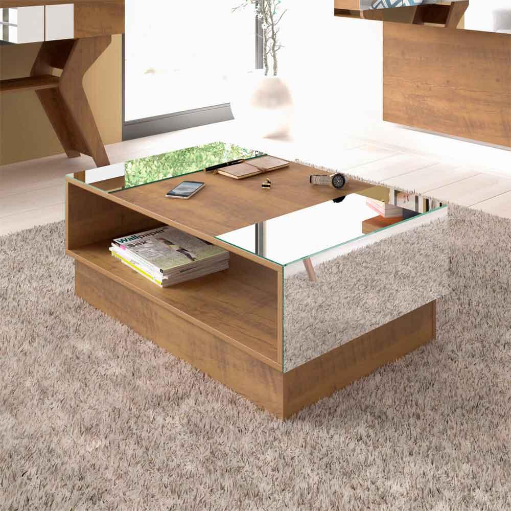 Mesa de Centro com Espelho Detroit Pinho - Artely