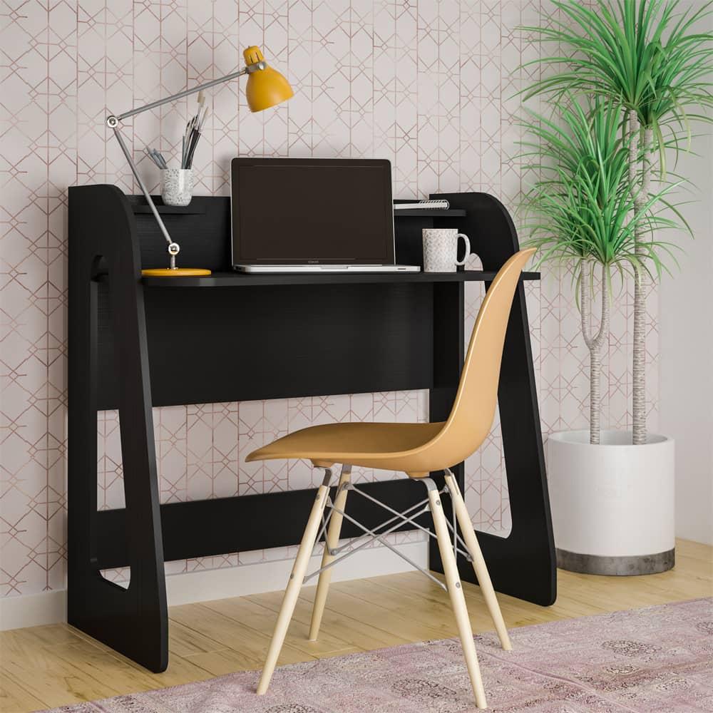 Mesa Escrivaninha 2 Prateleiras Cyber Preto - Artely