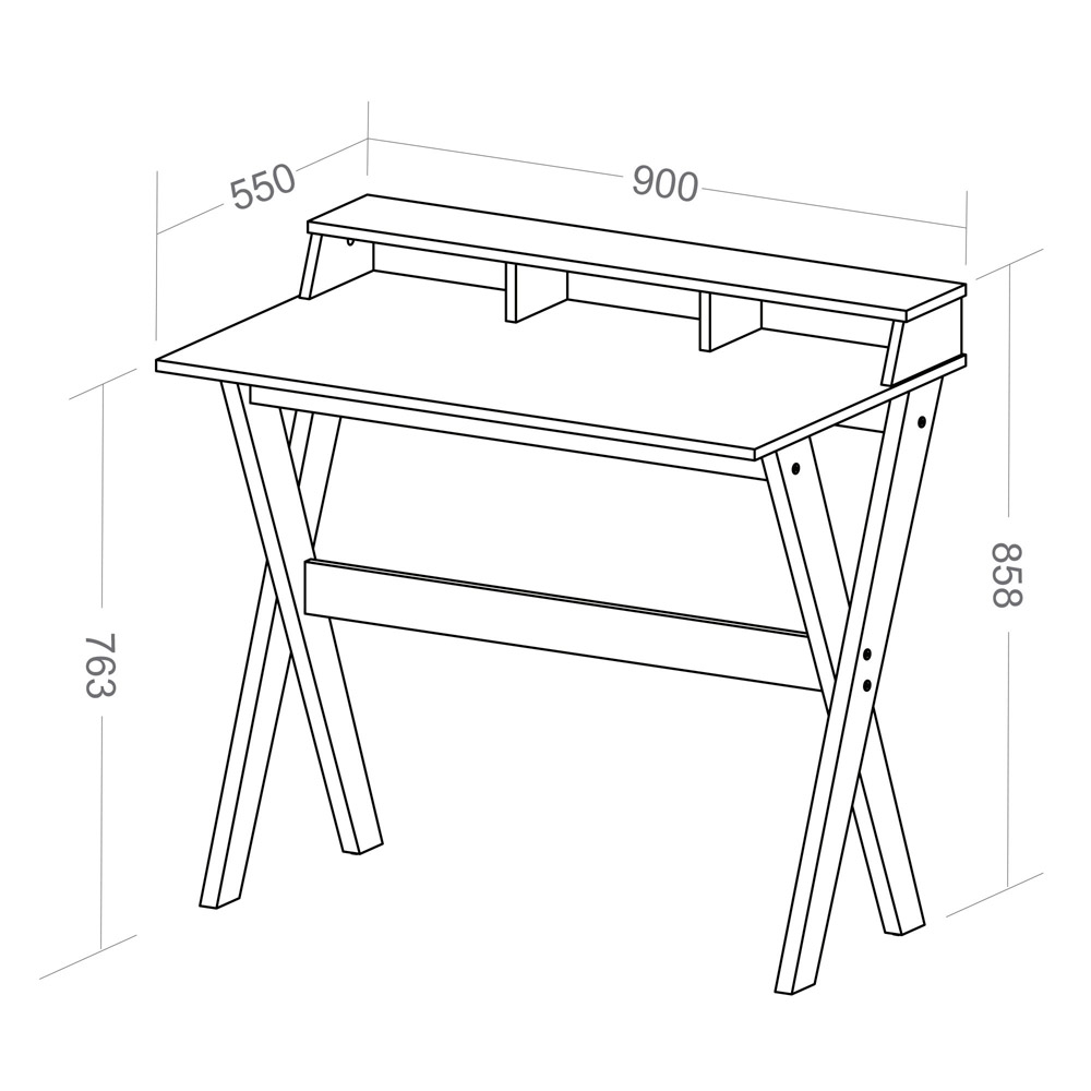Mesa Escrivaninha Retrô com 3 Nichos Itália Cinza Grigio - Artany