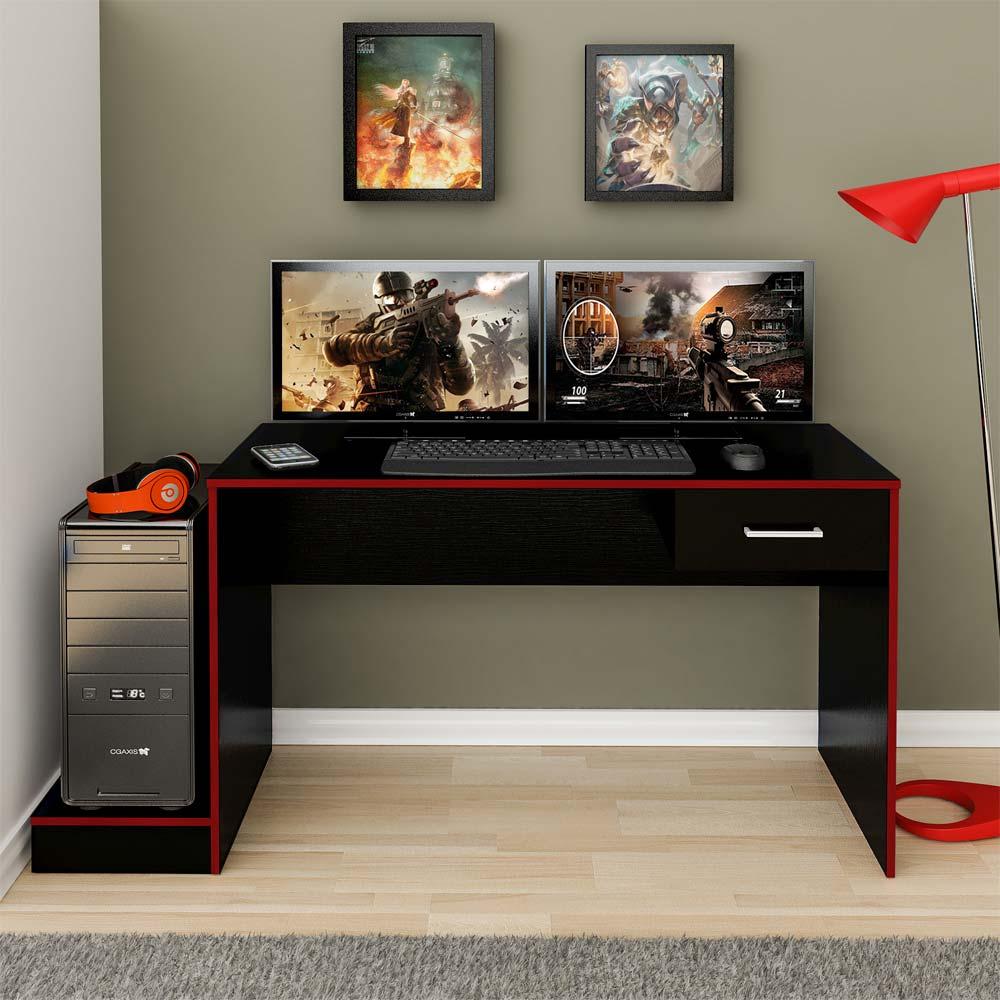 Mesa Para Computador Gamer 1 Gaveta Preto Acetinado/Vermelho - Artely