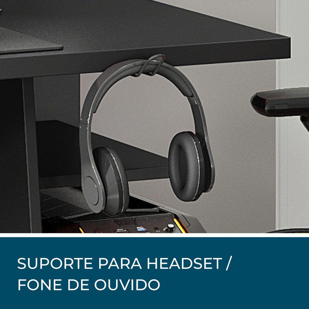 Mesa Para Computador Gamer Nt2020 Com 4 Prateleiras e Gancho para Headset