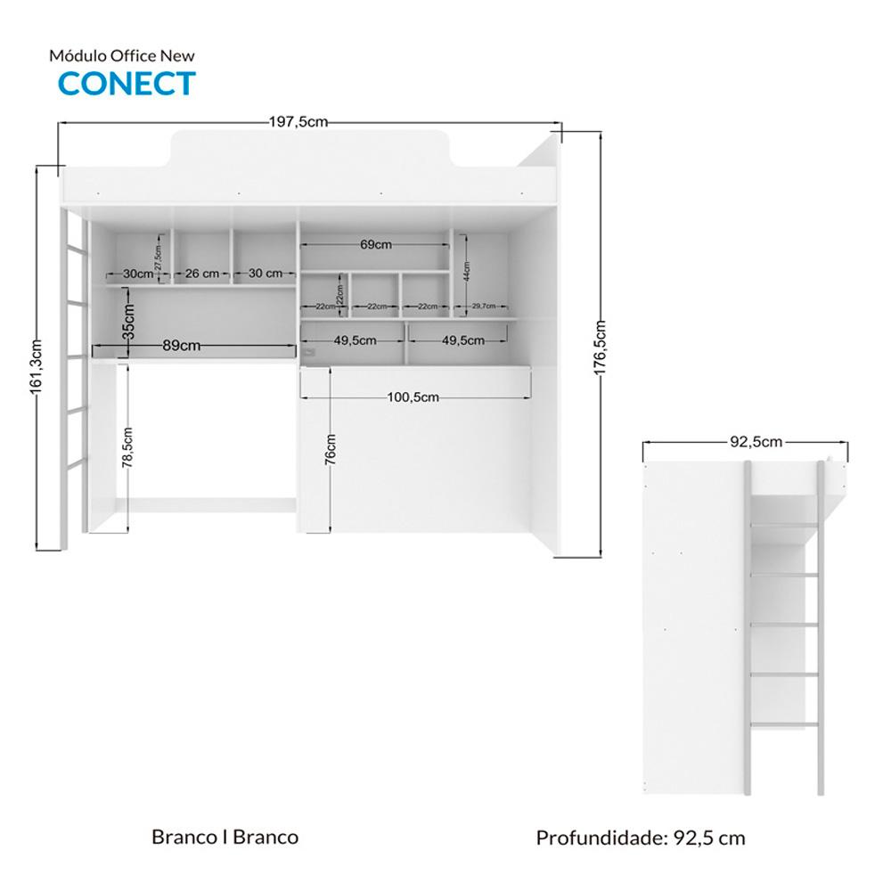Módulo Office New com Cama Alta e Escrivaninha Branco - Santos Andirá