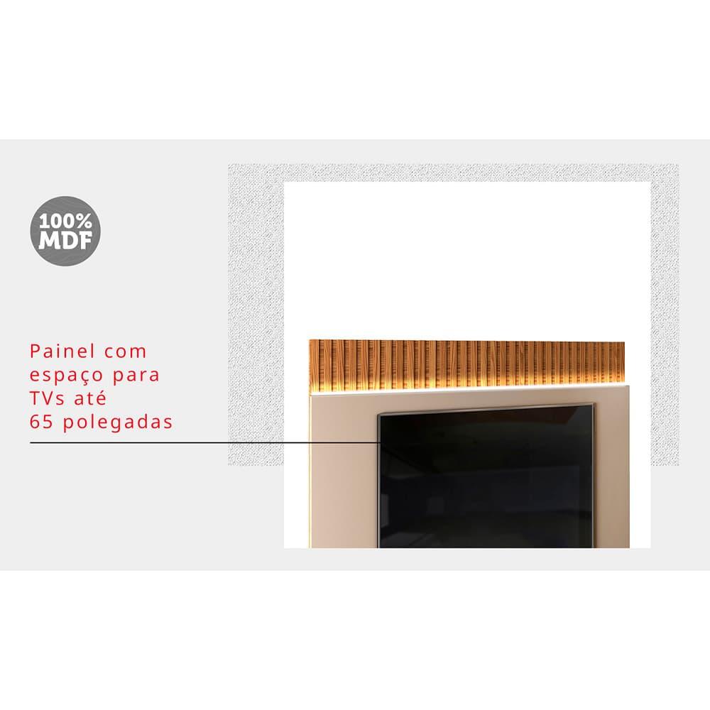 """Painel Home Suspenso para TV 65"""" Felinni Creme/Tronco Ripado - DJ Móveis"""