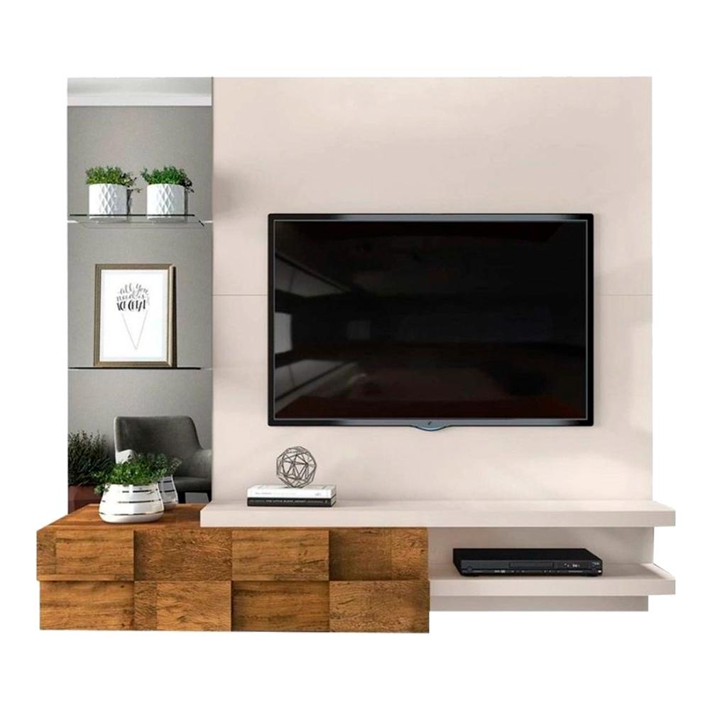 Painel Home Suspenso para TV até 55 Polegadas com Espelho Lago Creme/Tronco Ripado - DJ Móveis