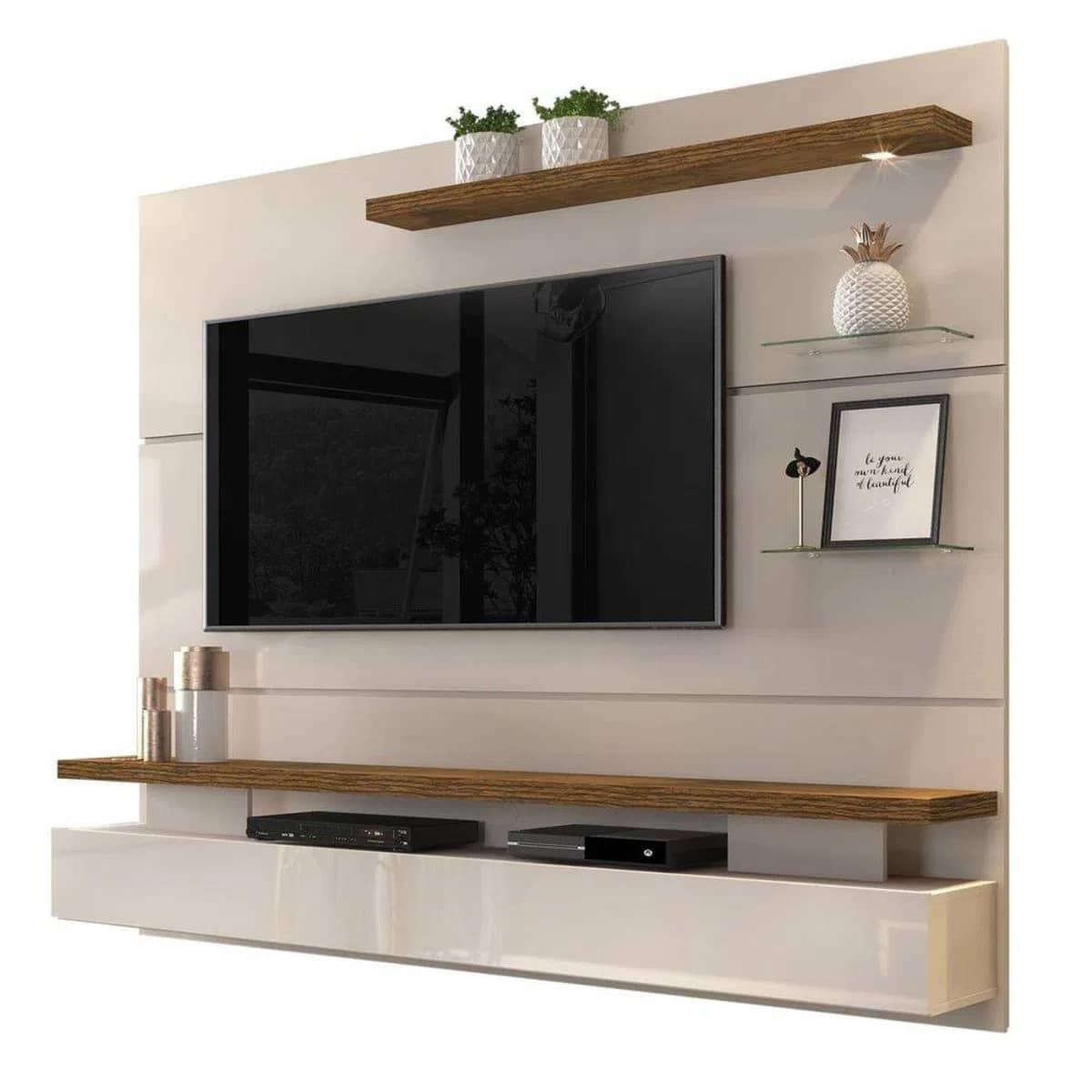 Painel Home Suspenso para TV até 65 Polegadas com LED Grécia Creme/Tronco Ripado - DJ Móveis