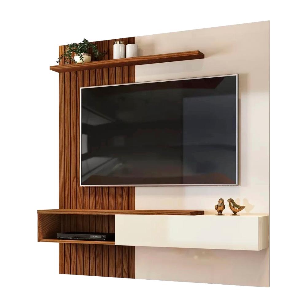 Painel Home Suspenso para TV Até 65 Polegadas Tele Creme/Caiena - DJ Móveis