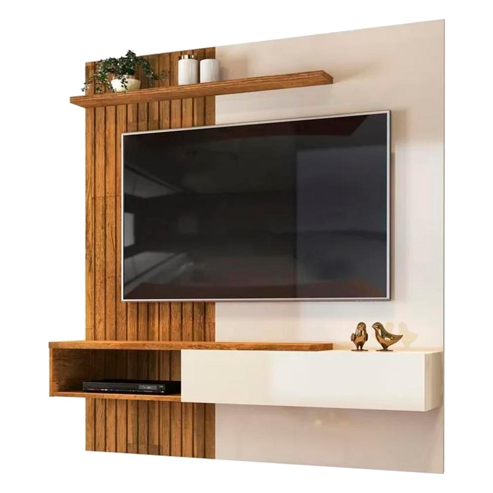 Painel Home Suspenso para TV Até 65 Polegadas Tele Creme/Tronco Ripado - DJ Móveis